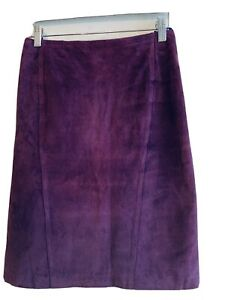 Woman/'s Small Vintage Dark Purple Suede High Waisted Pencil Skirt