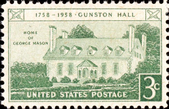 1958 3c Gunston Hall, Virginia, George Mason Scott 1108