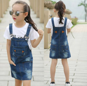 vivid and great in style great deals luxuriant in design Details about Girls Ripped Denim Dungarees Dress Jeans Bib Overalls  Pinafore Skirt Dress Kids