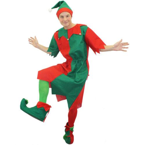 Linea UOMO Costume Elfo NATALE costume Santa/'s Helper VESTITO E CAPPELLO ADULTO UOMO