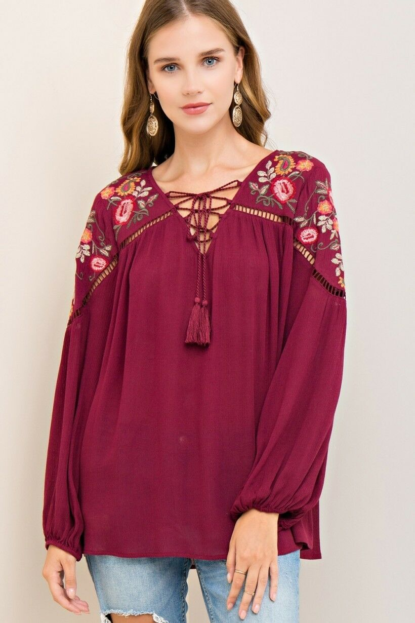 c8d91d7a52 ENTRO Bohemian Peasant Floral Embroidery Crochet Sleeve Top Wine MED ...