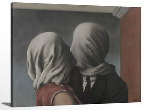 """RENE MAGRITTE Surrealism Art Poster or Premium Canvas Print /""""The Lovers II/"""" 1928"""