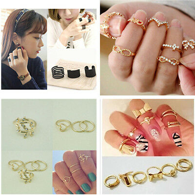 3/4/7Pcs Set Knuckle Ring PUnk Urban Gold Stack Above Band Midi Rings Gift
