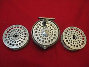 Vintage-Intrepid-Gear-Fly-Salmon-Trout-Fly-Fishing-Reel-2-Spare-Spools