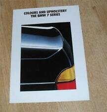 BMW 7 Series Colours & Upholstery Brochure 1991 E32 - 730i & 735i