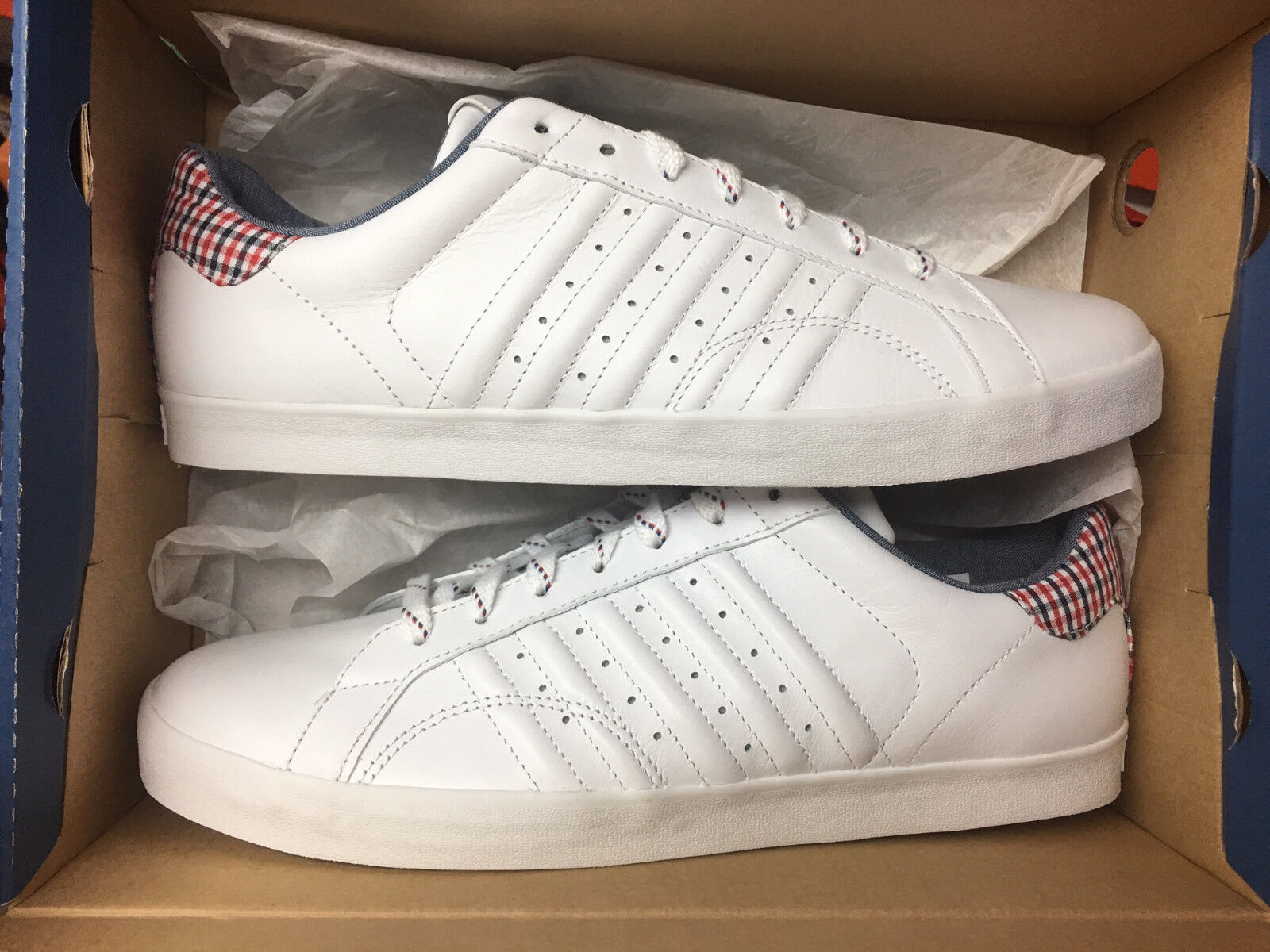 K-Swiss Belmont Plaid Neu Gr:44,5 White Schuhe 03447-161M Sneaker Leder Weiß Schuhe White ddb177