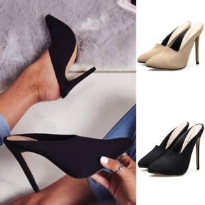 2019-Womens-Pointed-Toe-Slip-On-Sandals-Mid-Stiletto-Heel-Slingback-Pumps-Shoes