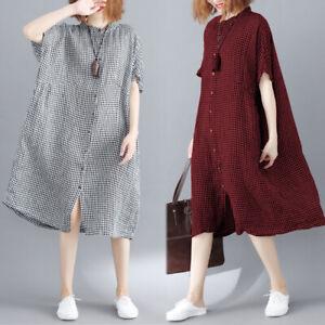 Belle-Femme-Robe-Simple-Manche-Courte-Plaid-Verifier-Casual-Party-Dresse-Plus