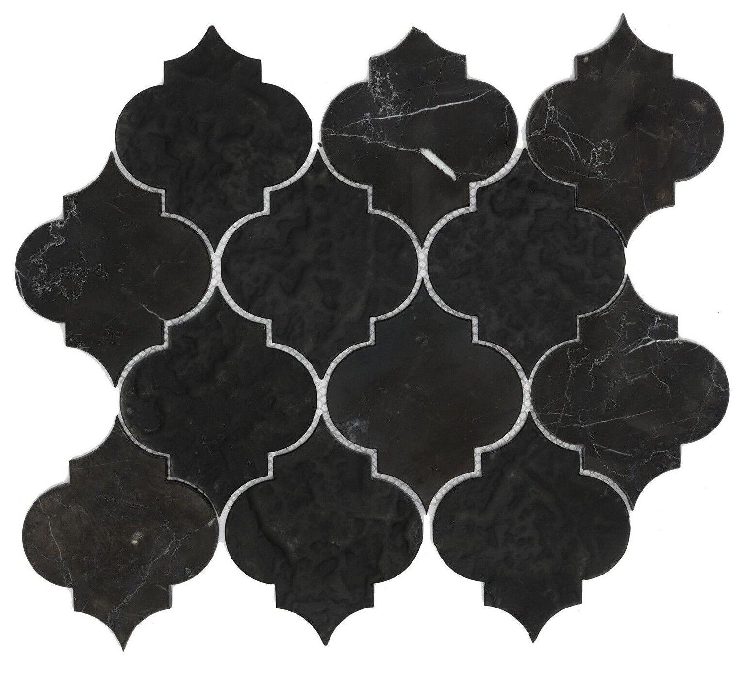 Decor8 ARABESQUE DOS schwarz MARBLE MOSAIC TILE 278x308x8mm Matt, Honed & Texturot