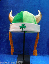 St Patrick's Day Viking Hat with Braids Stuffed Horns