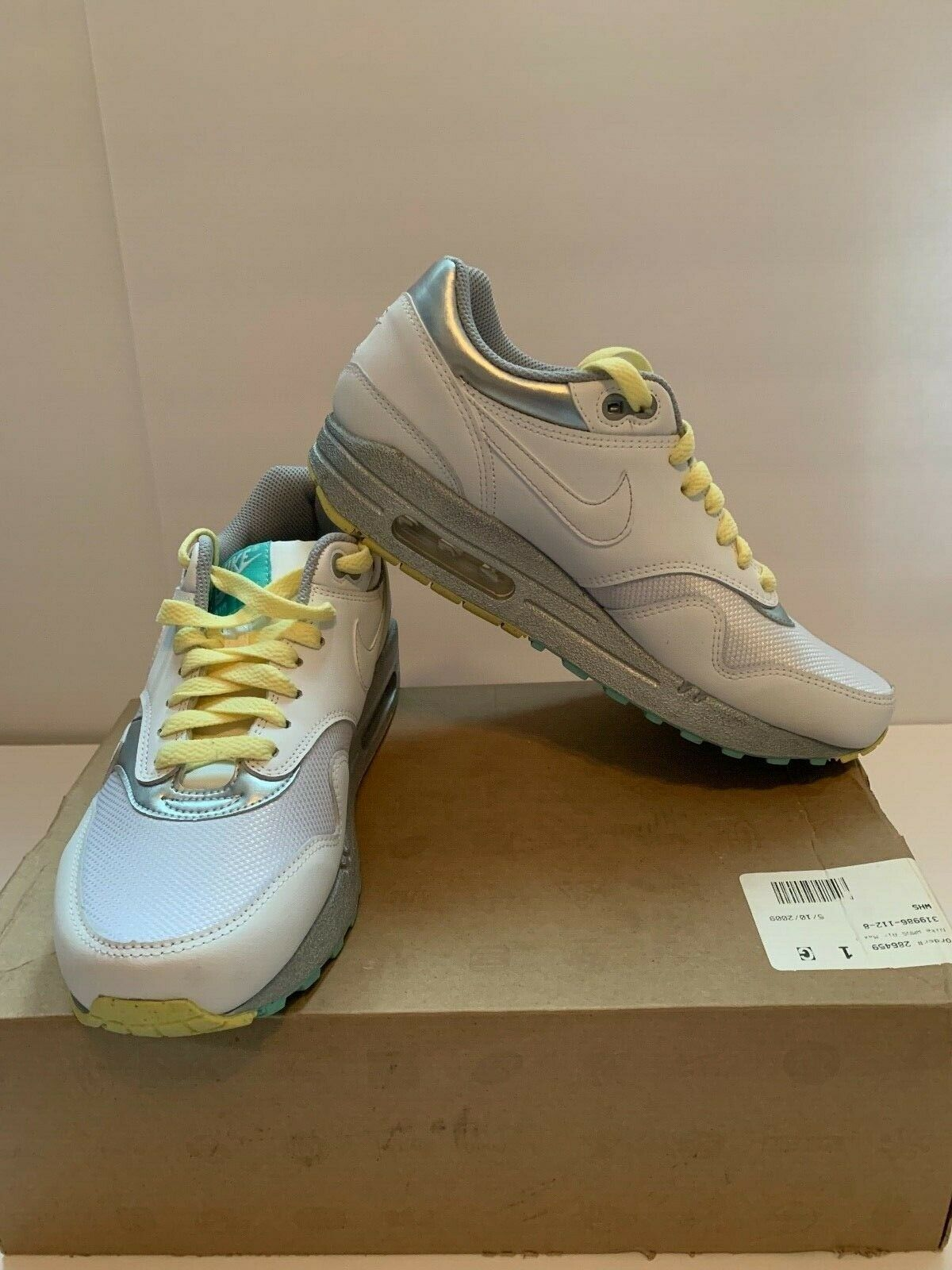 Nike Air Max 1 White Silver Yellow Women shoes Size 8