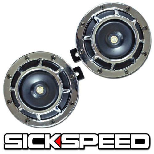 SICKSPEED 2PC CHROME SUPER LOUD GRILLE MOUNT ELECTRIC BLAST TONE HORN SLINGSHOT