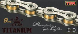 YBN-SFL-209-Titanium-9-Speed-Bike-Chain-227g-for-SHIMANO-SRAM-CAMPAGNOLO-Silver