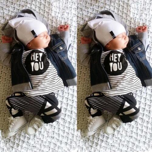 2PCS Outfits Newborn Toddler Baby Girl Boy Stripe T-shirt Tops+Pants Clothes Set
