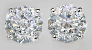 .5 ct tw Screwback Earrings Top CZ Moissanite Simulant Solid Sterling Silver