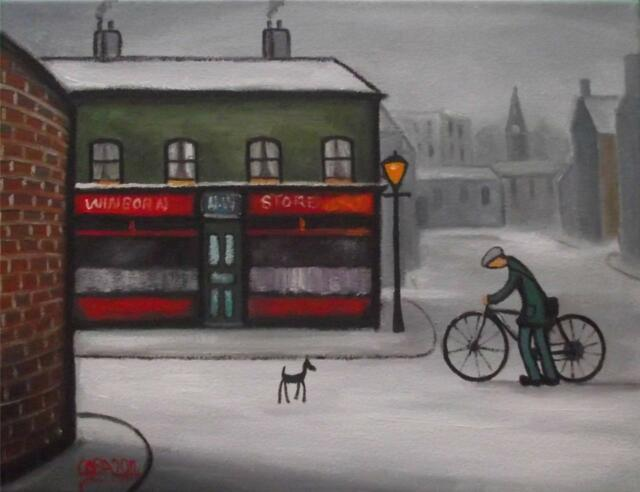 The Village Shop  : Original Northern Art Oil Painting on Canvas by COSA