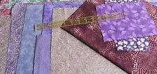 Cotton Fabric Scrap Bundle PURPLE Lavender lot 8 oz 2 yards floral marble tonal