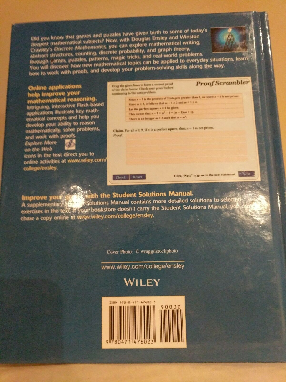 Discrete Mathematics : Mathematical Reasoning and Proof with Puzzles,  Patterns, and Games by Douglas E. Ensley and J. Winston Crawley (2005,  Hardcover) | ...