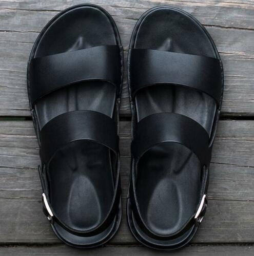 Stylish Summer Mens Flats Roman Breathable Sandals Beach Shoes Leather Black Hot