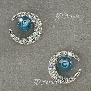 EARRINGS-STUD-18K-WHITE-GOLD-GF-MADE-WITH-SWAROVSKI-CRYSTAL-BLUE-CRESCENT
