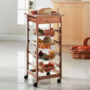 Details About 4 Tier Kitchen Trolley Cart With Strorage Drawer And Tile Top Baskets