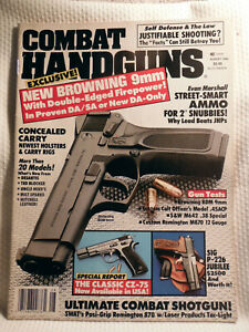COMBAT HANDGUNS  MAGAZINE ~ AUG 1992 ~ EXCLUSIVE! NEW BROWNING  DA/SA 9MM