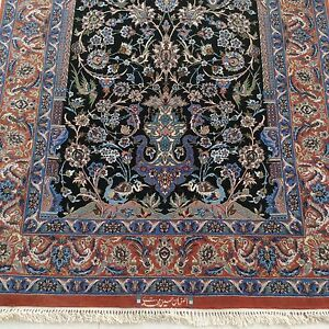 Persian-Silk-Carpet-Isfahan-Rug-Signed-Immaculate-Unused