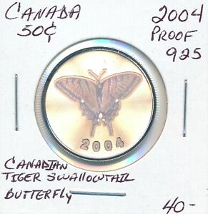 CANADA-50-CENTS-2004-CANADIAN-TIGER-SWALLOWTAIL-BUTTERFLY-PROOF-925-SILVER