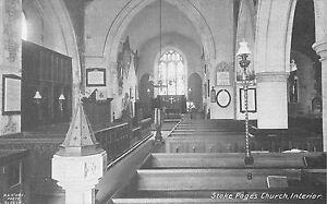 POSTCARD-BUCKINGHAMSHIRE-STOKE-POGES-Church-Interior