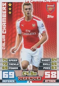 006 Calum Chambers # England Arsenal.fc Card Premier League 2015 Topps Techniques Modernes