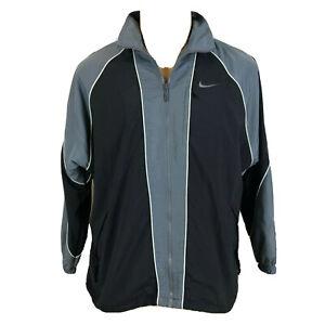 Vintage-Mens-Nike-Windbreaker-Size-M-Mesh-Lined-Jacket-Coat-Grey-Full-Zip