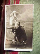 COWGIRL Talking on POTBELLY CANDLESTICK PHONE  RPPC Real Photo POSTCARD Scranton