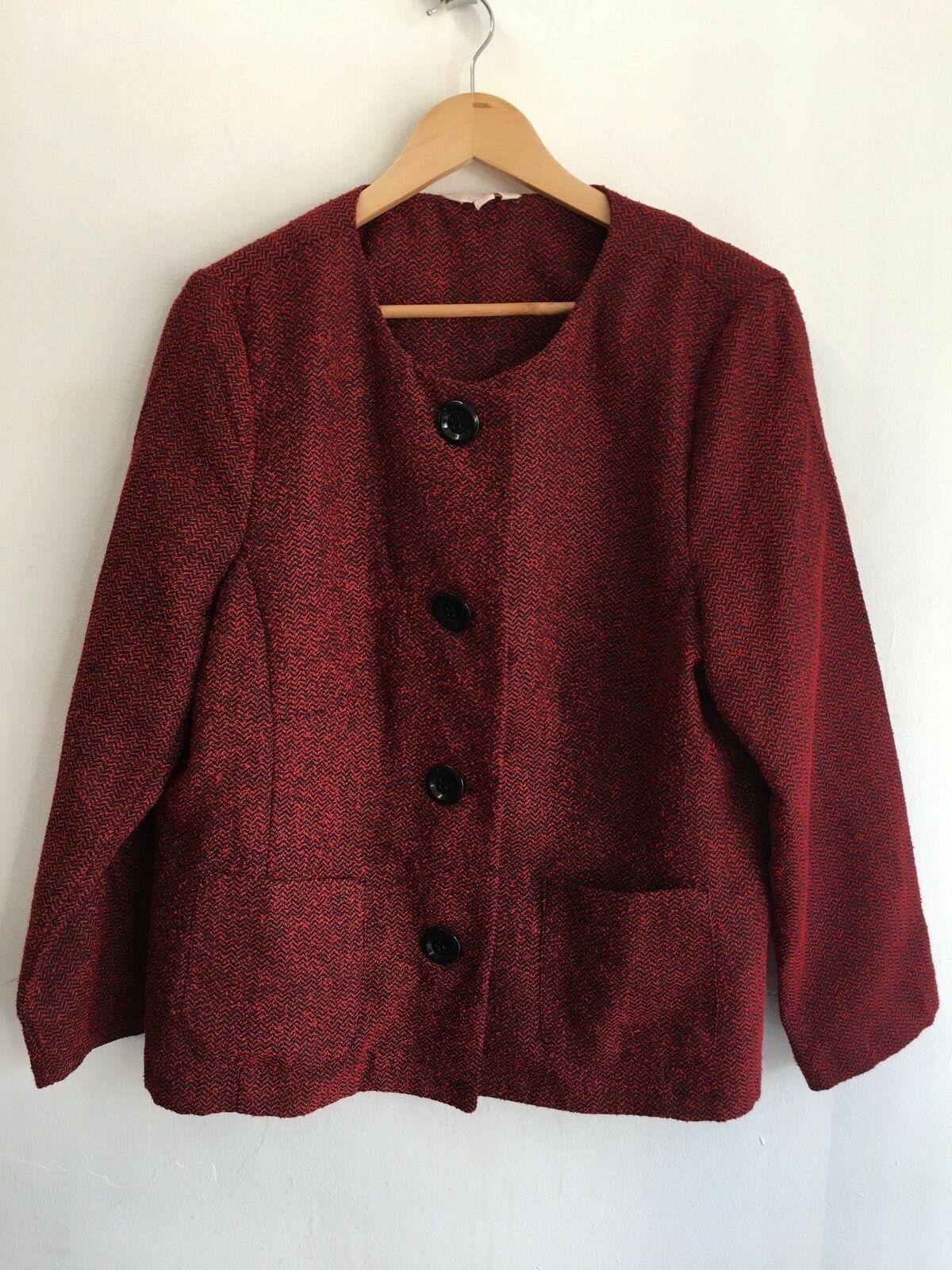 Womens Crew Neck Red Mix Big Button Blazer Jacket by JULIPA - Size 18