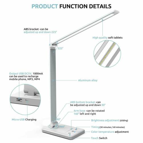 10W LED Schreibtischlampe Tischleuchte Dimmbar Kinder Leselampe Touch Büro