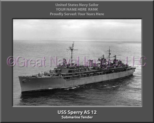 USS Sperry AS 12 Personalized Canvas Ship Photo Print Navy Veteran Gift