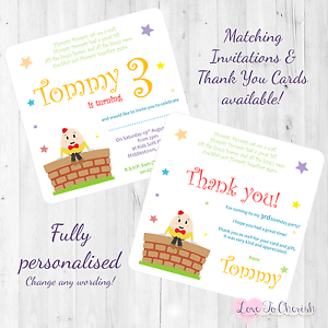 Image Is Loading Humpty Dumpty Personalised INVITES THANK YOU Birthday Party