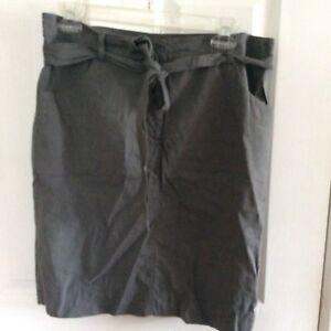 Eileen-Fisher-Womans-Gray-Skirt-Linen-Blend-Belted-Straight-Size-12