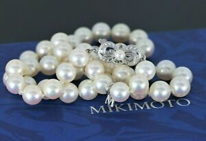 5-160-Mikimoto-18K-White-Gold-A-Grade-7-5-8mm-Akoya-Pearl-16-039-039-Strand-Necklace