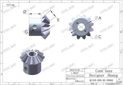 1.5M12T Metal Umbrella Tooth Bevel Gear Helical Motor Gear 12 Tooth 8mm Bore