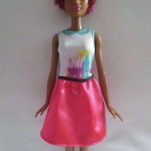 NEW Barbie Evolution Fashionista Tall Doll Grey Purple /& Pink Dress ~ Clothing