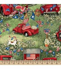 Susan Winget Patriotic Red Pickup Truck Cotton Fabric by the YARD