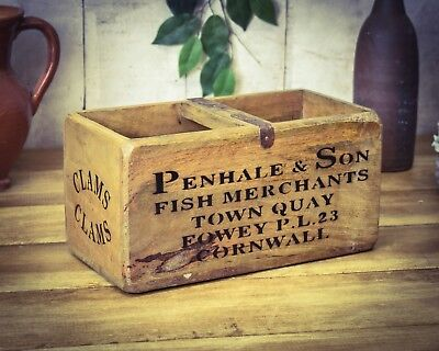 Vintage Antiqued Wooden Box Crate Penhale Cornwall Fish Box Careful Calculation And Strict Budgeting Trug