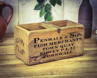 Penhale Cornwall Fish Box Careful Calculation And Strict Budgeting Vintage Antiqued Wooden Box Crate Trug