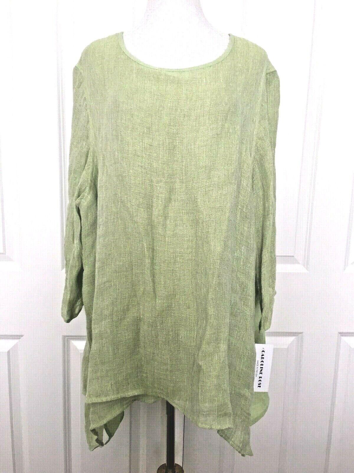 New New New Caroline pink Linen Tunic Shirt Top 3X Plus Lime Green Neiman Marcus b47504