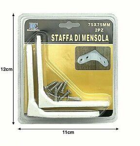 Staffe Per Mensole In Ferro.Staffe Angolari Triangolo Metallo 75 Mm Per Mensole Legno Ferro