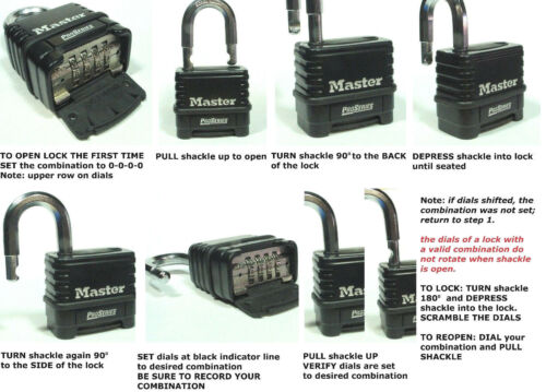 Lot 6 Combination Lock Set by Master #1178 Resettable Weather Sealed Carbide