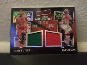 premium selection 24e54 fe97d Details about Jimmy Butler and Taj Gibson 2016-2017 Aficionado Dual  Authentic Jersey Card