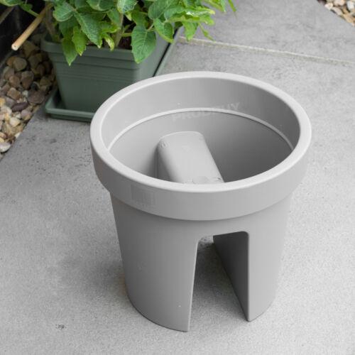 2 X GRIGIO ROUND Ponte Fioriere verande balcone ringhiera da appendere per piante vasi di fiori