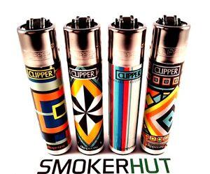 Clipper-Lighters-Rare-Geometric-Aztec-Star-Full-Collectable-Set-x4-pcs