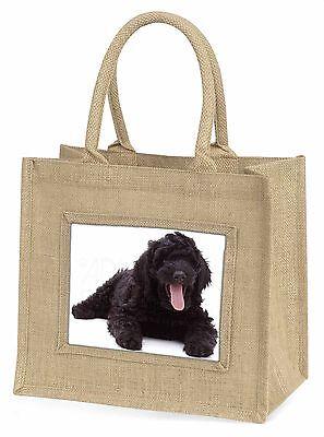 Schwarz Labradoodle Hund Große Natürliche Jute-einkaufstasche Weihnachten,